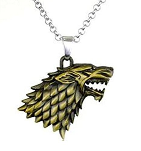 Fantasy - Dire Wolf - Bronze Tone Wolf Pendant Necklace - Winter is Coming - Goth bronzewolf