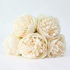 RainbowCo Artificial Flower Wedding Hand Holding- Artificial Silk Fake Flowers Rose Floral Decor Bouquet- Fake Flowers for Decoration in Vase- Vintage Artificial Peony Silk Flowers 12