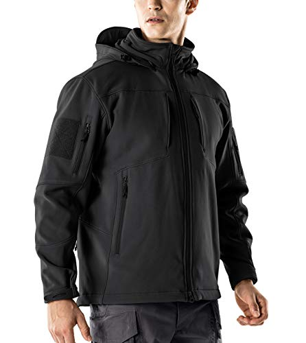 CQR CQ-HOK801-BLK_Large Men's Tactical Softshell Detachable Hoodie Hiking Hunting EDC Lightweight Fleece Coat Jacket HOK801