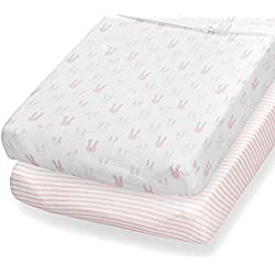 Changing Pad Cover, 2 Pack, 100% Jersey Cotton Sheets for Baby Girl, Pink Bunnies and Stripes by Consciously