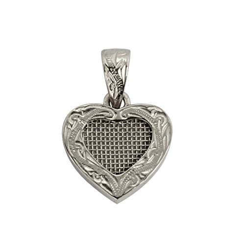 Price comparison product image Hawaiian Heart Necklace - Reusable Aroma Pendant Essential Oil Diffuser Necklace - Hypoallergenic 316L Stainless Steel 925 Sterling Silver Plated Perfume Jewelry Engraved with Hibiscus Flower for Men