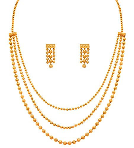 JFL - Traditional Ethnic Gold Plated Multi Strands Round Gold Bead Necklace Set for Women and Girls