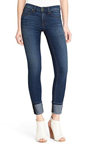 Denim Capri Crop Pants - HyBrid & Company Women's Perfectly Shaping Stretchy Deep Cuff Denim Capri P43998SK Dark Wash 11