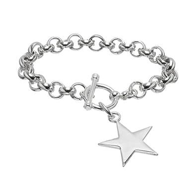 72d2cdc9bba28b Sterling Silver Designer Inspired Star Toggle Bracelet: Emitations:  Amazon.co.uk: Jewellery