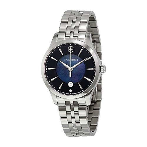 Victorinox Swiss Army Alliance 35MM Black Mother-of-Pearl Face Date Stainless Steel Womens Swiss Watch 241751
