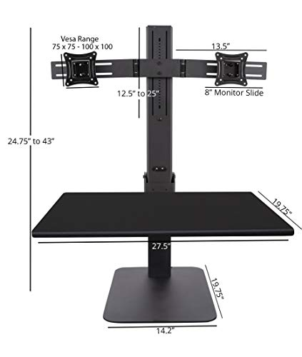 Strange Stand Up Desk Store 28 Inch Power Rise Electric Adjustable Standing Desk Converter With Dual Monitor Mount Turns Any Desk Into A Standing Desk Download Free Architecture Designs Pushbritishbridgeorg