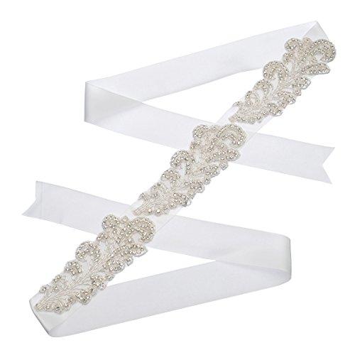 Remedios Crystal Beaded Ivory Satin Bridal Sash Wedding Belt for Bride