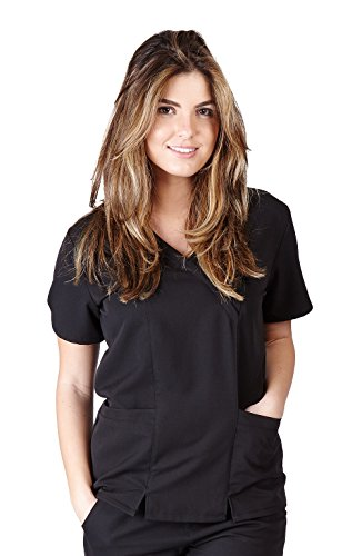 Ultra Soft Scrubs - Womens Junior Fit Two Pocket Cross Over Tunic Scrub Top, Black ()