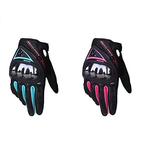 SCOYCO Woman Motorradhandschuhe Touchscreen-Rüstung Atmungsaktive Damenhandschuhe Anti-Rutsch-MBX / MTB / ATV Sport Pink…