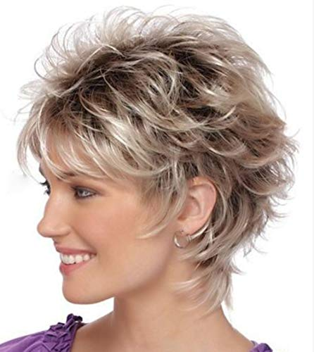 RENERSHOW Short Curly Wigs for White Women Bob Fluffy Hair Wigs Natural Looking Heat Resistant Synthetic Fashion Wig with Free Wig Cap (G1)