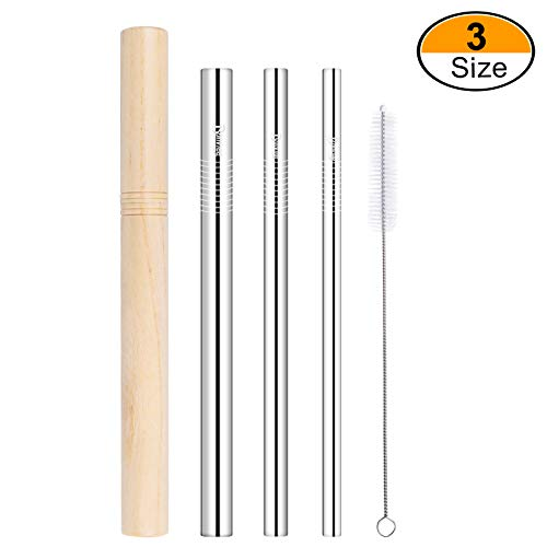 Bonviee Stainless Steel Straws 8.5 Inch Metal Drinking Straws Straight with Travel Case Cleaning Brush Straws Drinking Reusable for 20 OZ YETI Tumbler RTIC Cups Eco-Friendly (3 Size: 6/8/12mm Dia.)