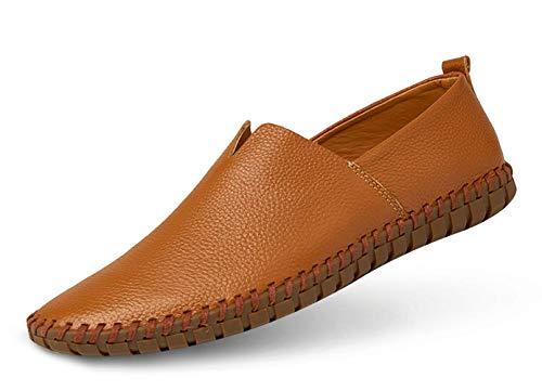 JIYE Men's Genuine Leather Loafer Shoes Slip On Soft Walking Driving Shoes,Brown,44EU=11 M US ()
