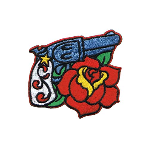Gun Pistol & Rose Patch Right Facing Artist Reed Embroidered Iron On Applique
