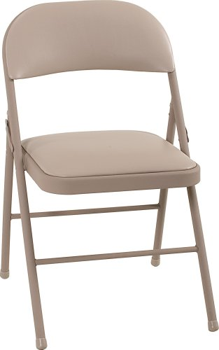Cosco Vinyl Folding Chair Antique Linen (4-pack) by Cosco