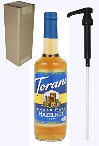 - Torani Sugar Free Hazelnut Flavoring Syrup, 750mL (25.4 Fl Oz) Glass Bottle, Individually Boxed, With Black Pump