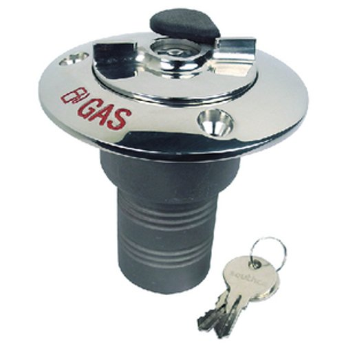 (Seachoice 32051 Deck Mount Gas Fill Plate with Locking Cap - Cast 316 Stainless Steel - Includes 2 Keys)