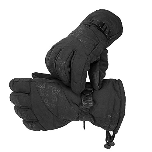 UKEE Ski Gloves, Waterproof and Windproof Winter Snow Gloves Ski, Snowboard, Motorcycle, Bike, Ski Gloves for Men and Women (black)