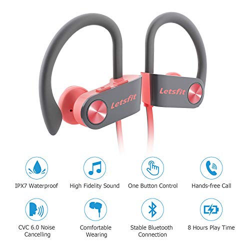 Bluetooth Headphones, Letsfit Wireless Headphones, IPX7 Waterproof Sports Earphones Gym Running, HD Stereo Headset w/Mic, 8 Hours Battery Noise Cancelling Bluetooth Earbuds by Letsfit (Image #1)