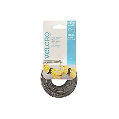 """VELCRO Brand - ONE-WRAP Cable Management, Thin Self-Gripping Cable Ties: Reusable, Light Duty - 8"""" x 1/2"""" Ties, 25 Ct. - Black"""