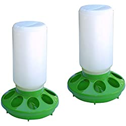 ALEKO 2PFD002 Chicken Hen Feeder Poultry Feeding Pan, Set of 2, Green and White