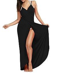 ASWear Women's Deep V-Neck Strap Maxi Backless Long Beach Dress Bikini Cover Up