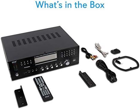 4 Channel Wireless Bluetooth Amplifier – 3000 Watt Stereo Speaker Home Audio Receiver w/ FM Radio, USB, 2 Microphone w/ Echo for Karaoke, Front Loading CD DVD Player, LED, Rack Mount – Pyle PD3000BA 41A4BxXI0KL