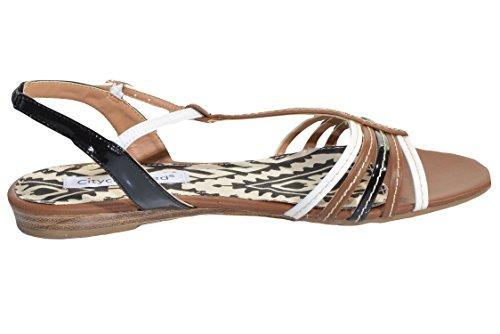 Ciudad Clasificado Ines Strappy Flat Sandal Tan Multi
