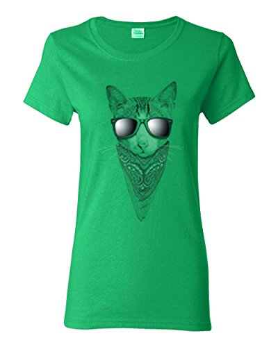 Cat Sunglasses Bandana Animal Lover Womens Shirt Kelly Green - R Sunglasses Kelly