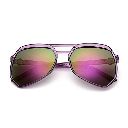 Protección de Sunglasses Purple con Azul Moda Gafas Aviador polarizadas de LVZAIXI Frame UV400 Deportes Metal Sol Caja Peso Ligero Color de qEqWwxarRO