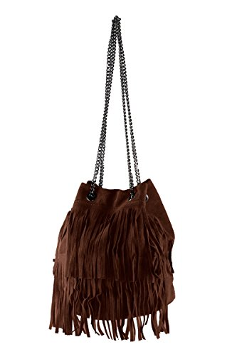 Sac 100 In Made Virginia Suede Italy Bucket Borderline Chocolat Femme YBwfnFq4T