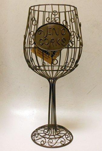 "'Vino Corks' Wire Frame Wine Glass Style Cork Holder 15"" Bar"