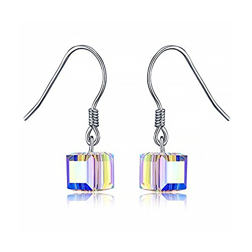 LOCHING Color Cute Magic Cube Earring Fashion Dangle 925 Sterling Silver Crystal ()