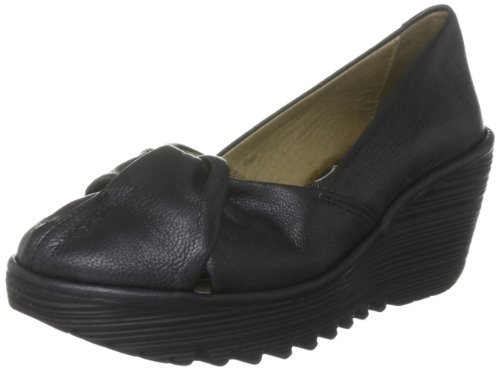 Fly London Yard - Zapatos de vestir de cuero para mujer Negro (Black Borgogna)