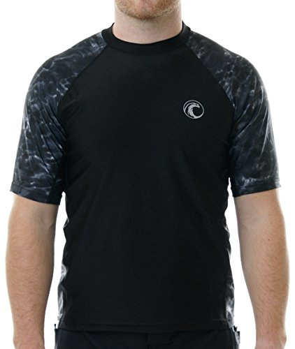 Aqua Design Men Loose Fit Rash Guard Surf Swim UPF Sun Protection Clothing Shirt, Black Water, 4XL
