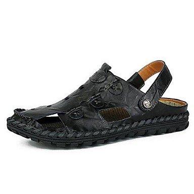 SHOES-XJIH&Uomini sandali estivi in pelle Casual camminare tacco piatto giallo bruno,Giallo,noi8.5-9 / EU41 / UK7.5-8 / CN42