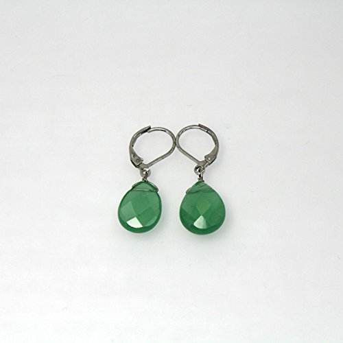 Handmade Silver Plated Natural Cut Chalcedony Stone Drop Dangle Leverback Earrings (Leverback Chalcedony Earring)