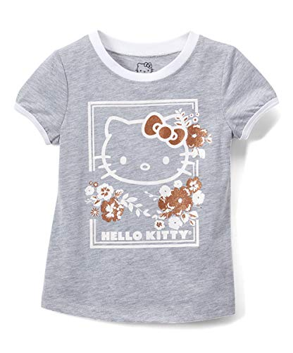 Hello Kitty Girls Short Sleeve Tee Shirt with Glitter Print (Gray, 5) -