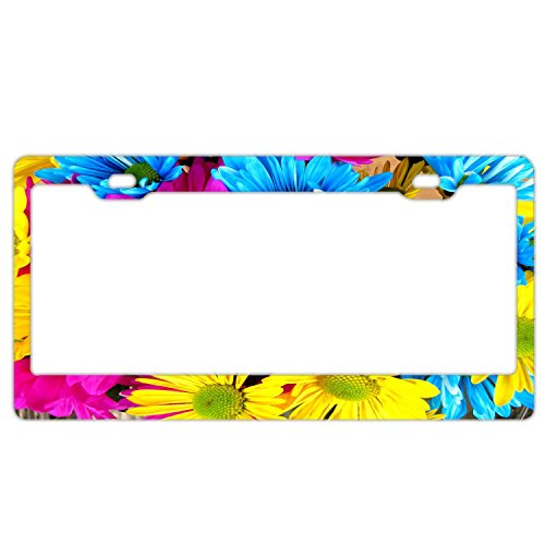 FunnyLpopoiamef Magenta Flowers License Plate Frame For Women/girl,Car Licenses Plate Covers Waterproof License Tag Stainless Steel Metal Frame