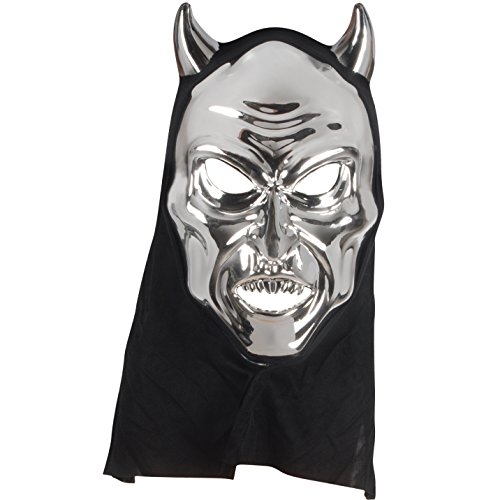 Star Power Adult Reflective Hooded Devil Face Mask, Silver, One-Size (Adult) (Devil Face Halloween)