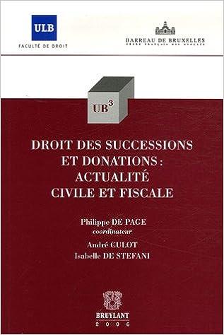 Livre Droit des successions et donations : actualités civile et fiscale pdf, epub