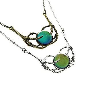 "Ms.Iconic Steam Punk Claw Mood Cabochon Color Changing Pendant Charm Emotion Necklace 18""+1"" Extender"