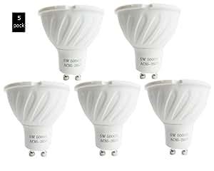 5Pack EEG iluminación GU10LED 40W halógena equivalente uso sólo 5W, 40° ángulo de haz, cálida y suave color blanco, 3000K, 5000K, empotrable, luz, iluminación de la pista, Spotlight, LED luz bulbs110V, pack de 5unidades