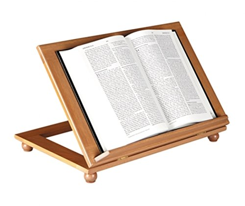Mahogany Wood Adjustable Bible or Missal Stand with Ledge, 10 1/2 Inch (Pecan Finish) ()