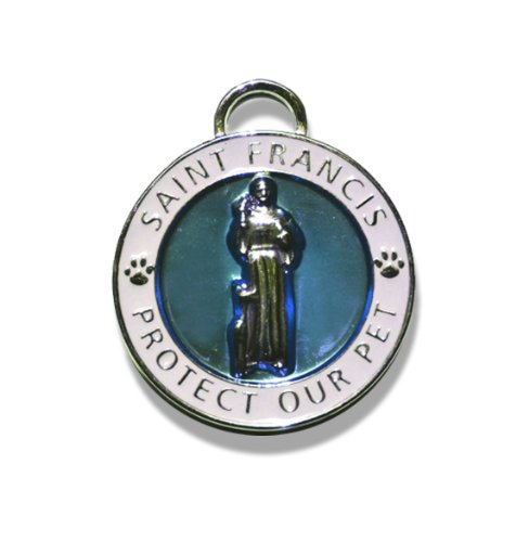 Luxepets Pet Collar Charm, Saint Francis of Assisi, Small, Blue