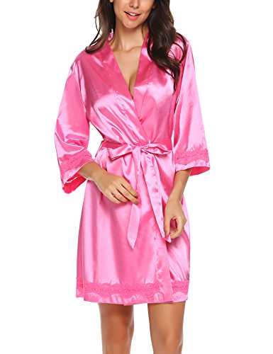 Ekouaer Women's Lace Satin Robe Short Kimono Bathrobe Sleepwear with Belt Pink S