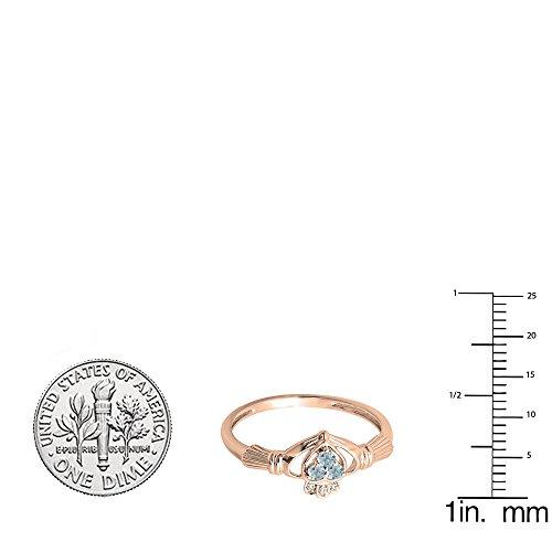 10K Rose Gold White Diamond And Aquamarine Bridal Promise Irish Love & Heart Shape Ring (Size 6) by DazzlingRock Collection (Image #2)
