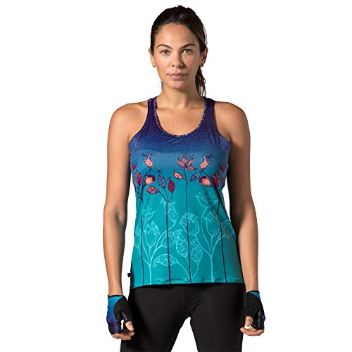 Terry Soleil Racer Tank Sleeveless Cycling Top for Women - Lightweight Ladies Tank Top with UPF 50+ Sun Protection - Mumbai Rising - X Large
