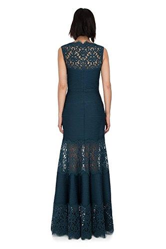 Tadashi Shoji Lace Inset Evening Gown Dress