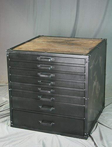 Modern flat file cabinet. Industrial drafting drawers. Reclaimed wood. Printer's -