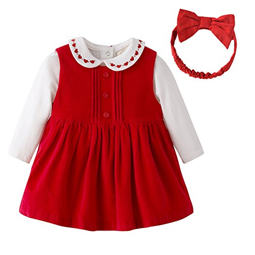 Auro mesa baby girl clothes Christmas Baby Clothing set Corduroy Dress, White Bodysuits and Headband (3-6M, Red)